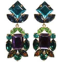 Philippe Ferrandis Teal, Purple, and Green Swarovski Crystal Clip Earrings