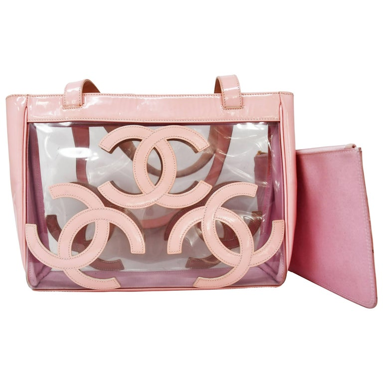 Gorgeous Chanel Nude / Pale Pink patent leather CC Logo Clear Tote Bag For Sale
