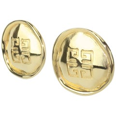 1980's Givenchy Gold Tone Button Logo Earrings