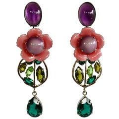 Philippe Ferrandis Pink, Purple, and Green Flower Clip Earrings