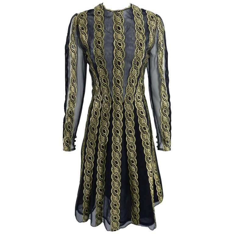 Pauline Trigere Vintage Sheer Mesh and Gold Lace Evening Dress