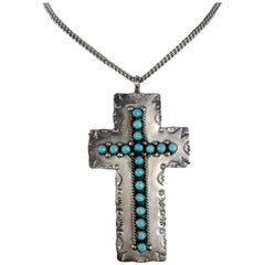 Native American Zuni Sterling Silver Turquoise Cross Pendant Necklace