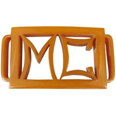 1930s Butterscotch Vintage Bakelite Catalin Belt Buckle M C