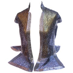 Exquisite Silver Glass Beaded Sheer Vest c 1970s