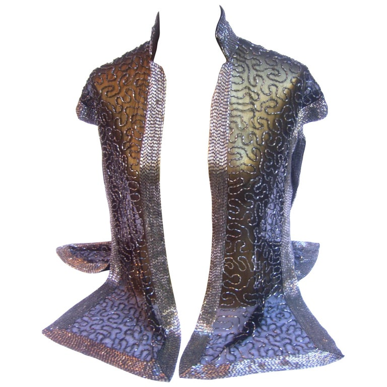 Exquisite Silver Glass Beaded Sheer Vest c 1970s For Sale