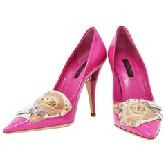 Louis Vuitton After Dark Riviera Fuchsia Patent Leather Pumps, Size 37