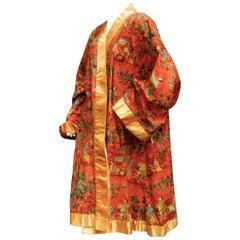 Asian Theme Cotton Illustrated Duster Robe Coat c 1970s