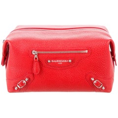 Balenciaga Leather Jewelry Cosmetic Travel Toiletry Carryall Bag