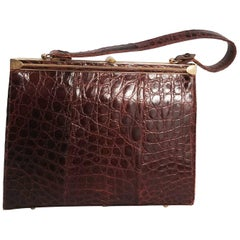 1940s Brown Alligator Handbag