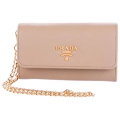 Prada New Nude Leather Gold 2 in 1 Wallet on Chain WOC Clutch Flap Bag in Box