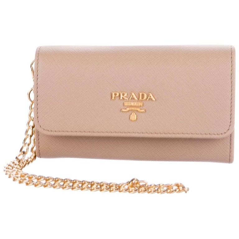 9ae26db7b8867c Prada New Nude Leather Gold 2 in 1 Wallet on Chain WOC Clutch Flap Bag in