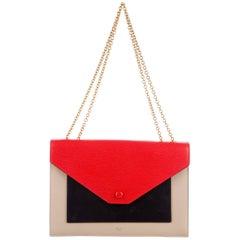 Celine New Leather 2 in 1 Envelope Evening Clutch Shoulder Flap Bag