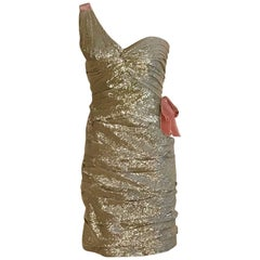 Oscar de la Renta Light Gold One Shoulder Cocktail Dress with Pink Velvet Bow