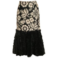New Alexander McQueen 2003 Fur Trimmed Floral Embroidered Wool Midi Pencil Skirt