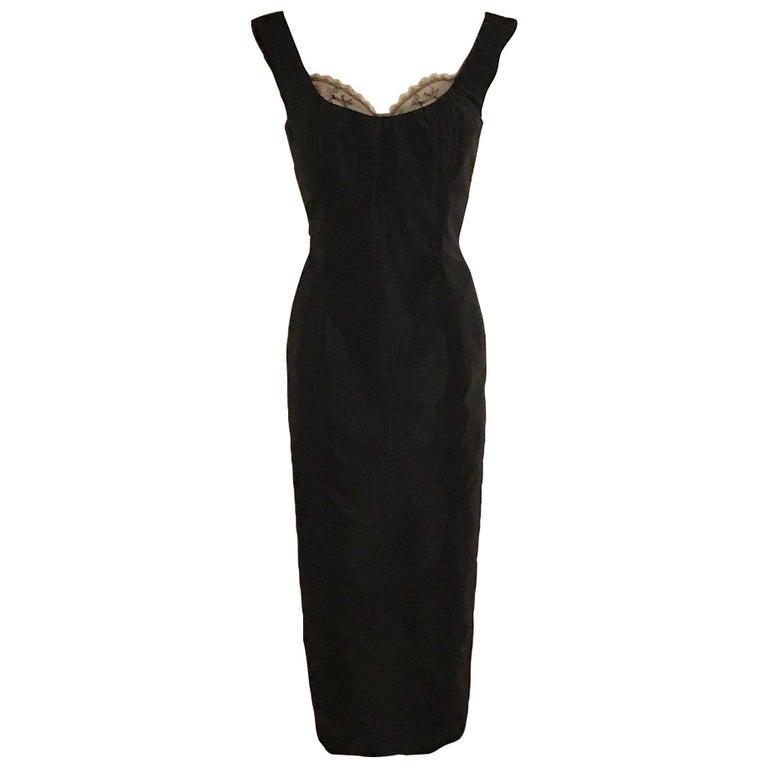 Alexander McQueen Black Silk Sleeveless Midi Wiggle Dress with Lace Trim, 2005
