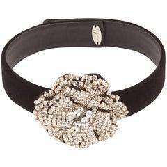 Giuseppe Zanotti New Black Velvet Crystal Evening Pendant Necklace in Box
