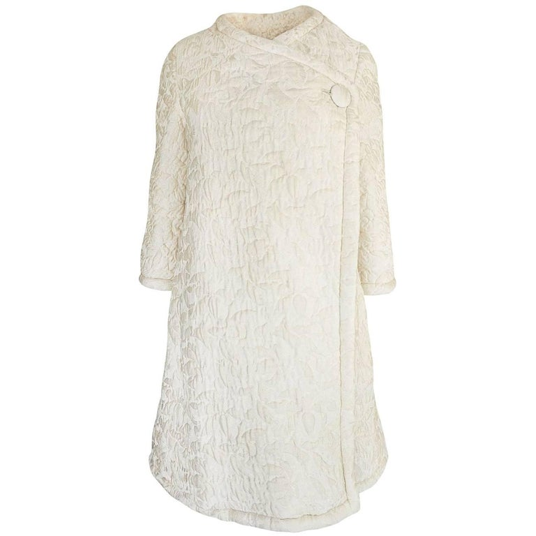 c1965 Nina Ricci Haute Couture Sheepskin Lined Ivory Silk Coat