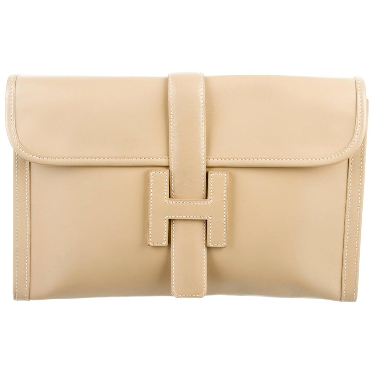 Hermes Leather Ivory Nude Leather H Logo Large Envelope Evening Clutch Flap Bag