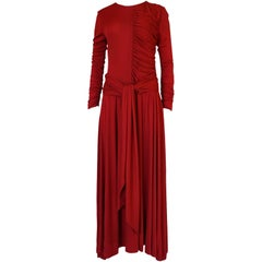 1980s Karl Lagerfeld Red Silk Jersey Dress with Sash