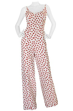 Fun 1970s Jame Galanos Red & White Dotted Jumpsuit