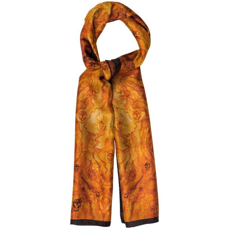 Alexander McQueen New Cognac Black Silk Men's Women's Skull Outerwear Scarf