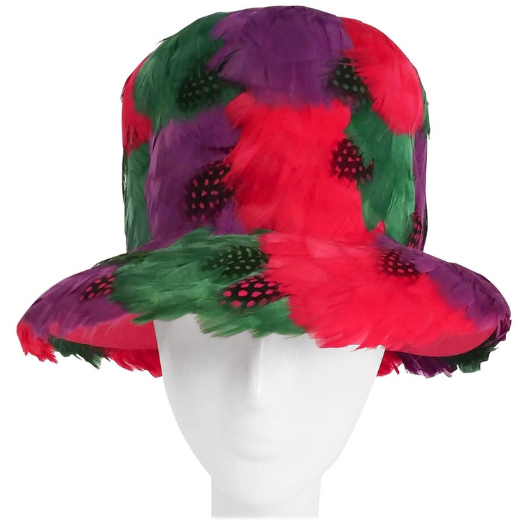 1980s Bright Feather Hat For Sale