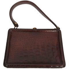 1950s Dark Brown Alligator Purse