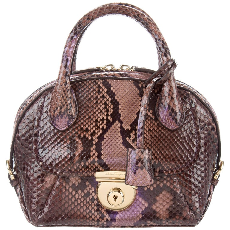 983e283697ed Salvatore Ferragamo New Python Kelly Top Handle Satchel Convertible  Shoulder Bag. Salvatore Ferragamo Brown Saffiano Leather ...
