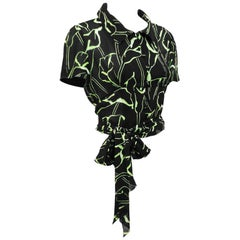 2000s Chloe Black and Green Calla Lily Print Crop Blouse