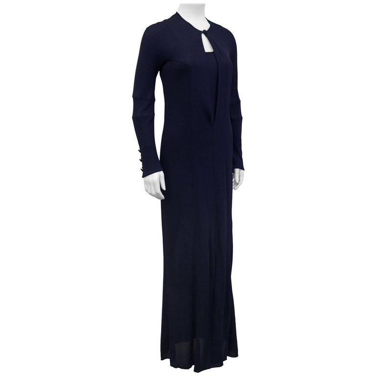 1990s karl lagerfeld navy jersey gown for sale at 1stdibs. Black Bedroom Furniture Sets. Home Design Ideas