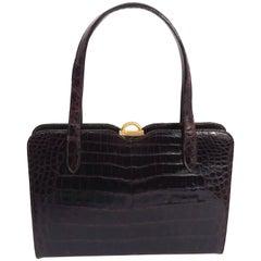 1960s Black Alligator Handbag