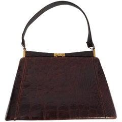 1950s Brown Alligator Handbag