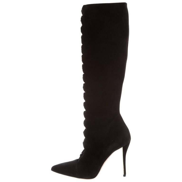 Oscar de la Renta New Black Suede Cut Out Knee Evening High Boots in Box