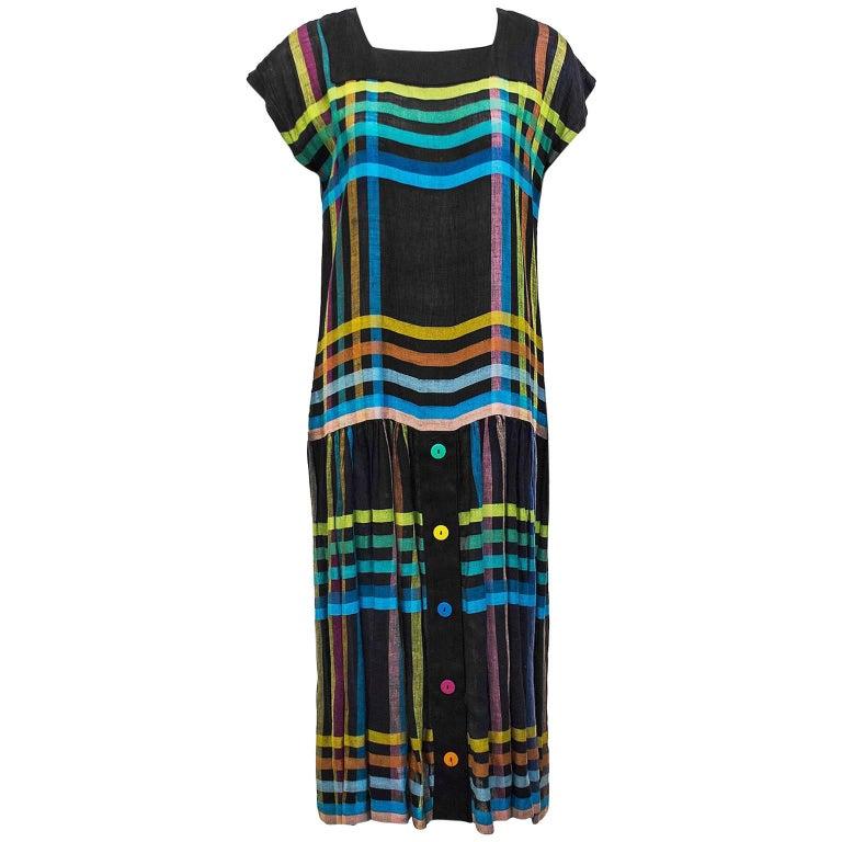 1980's Mila Schon Linen Day Dress