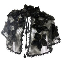 1930s-Styled Honeycomb Net Caplet w Beaded Fur Flower Appliques