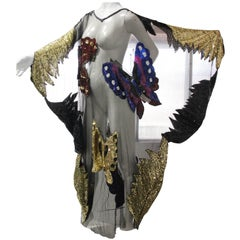 Custom-Made Sequin Butterfly Peek-A-Boo Caftan with 1970s Applique on Tulle