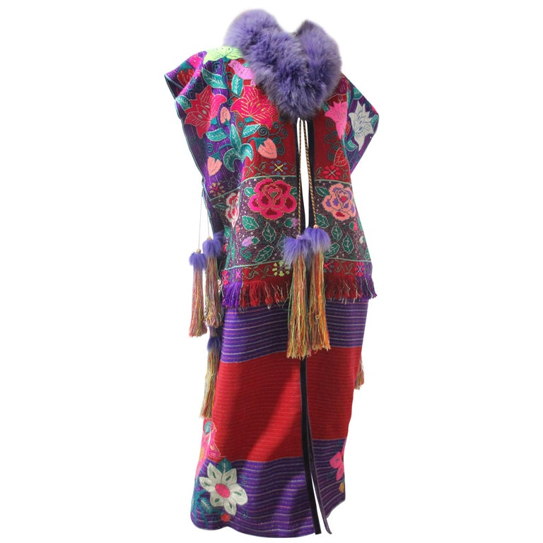 Custom-Made Colorful Folkloric Vestment of Vintage Mexican Textiles and Fox Fur