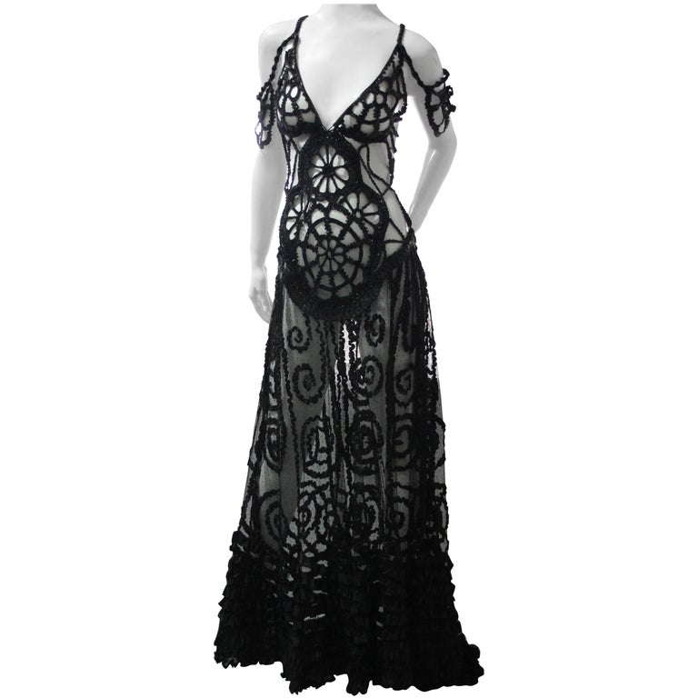 Black Widow Peek-a-Boo Gown in Tulle Victorian Beadwork Ruffles and Leather