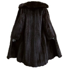 Gorgeous Mint Condition Vintage Black Brown Female Pelts Ranch Mink Fur Coat