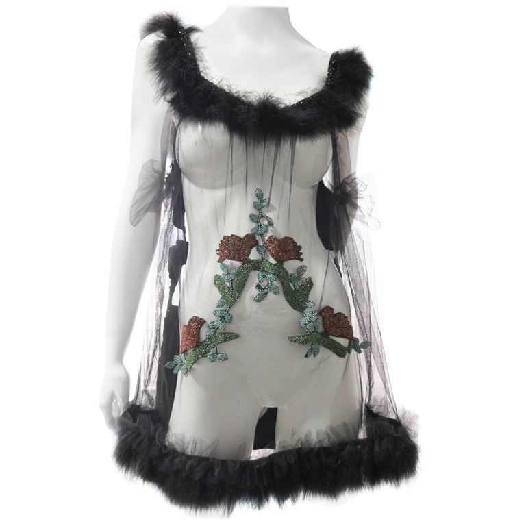 Side-Tie Tulle Teddy with 1920s Beaded Bird Applique and Black Swan's-Down Trim