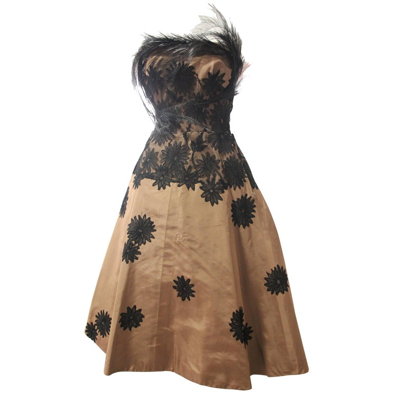1950s Bergdorf Goodman Cocoa Silk Cocktail Dress w Lace Applique and Feathers