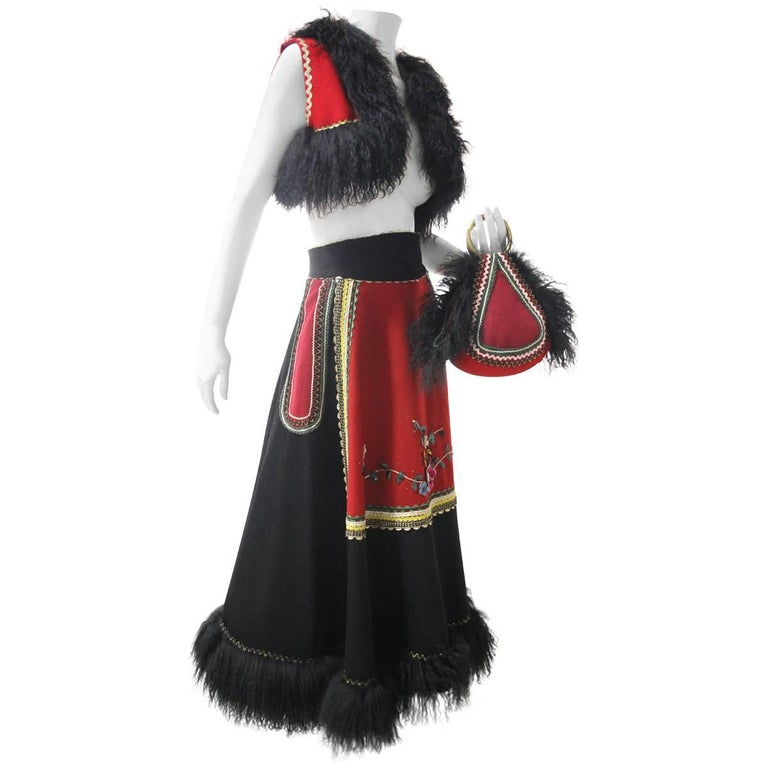 3-Piece Wool Felt Peasant-Inspired Ensemble w Mongolian Fur Trim