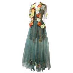 1950s Moss Green Tulle Gown Ensemble w Multi-Color Silk Flower Applique