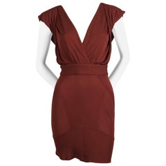very rare AZZEDINE ALAIA burgundy jersey backless dress with hood - 1990