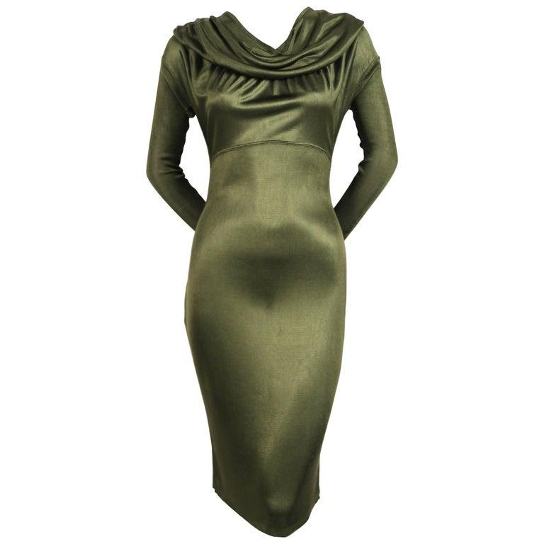 Azzedine Alaia olive viscose hooded dress, 1986  For Sale