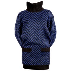 1980's AZZEDINE ALAIA blue & black sweater dress