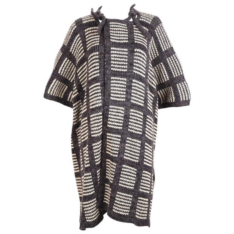 1970's ISSEY MIYAKE knit poncho cape coat For Sale