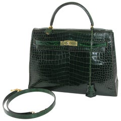 Hermes Vintage Green Croco Kelly Handbag,  1960s