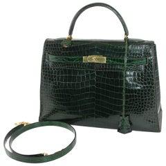 Hermes Vintage Green Croco Kelly 60s