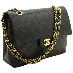 CHANEL Double Flap Chain Shoulder Bag Black Quilted Lambskin Gold